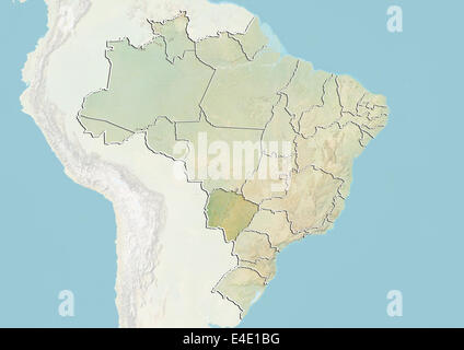 Brazil and the State of Mato Grosso do Sul, Relief Map - Stock Photo