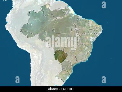 Brazil and the State of Mato Grosso do Sul, True Colour Satellite Image - Stock Photo