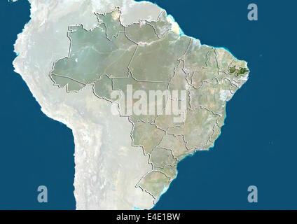Brazil and the State of Paraiba, True Colour Satellite Image - Stock Photo