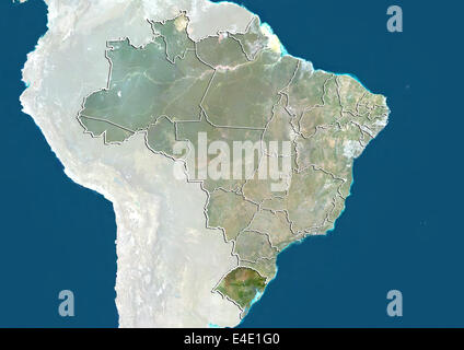 Brazil and the State of Rio Grande do Sul, True Colour Satellite Image - Stock Photo