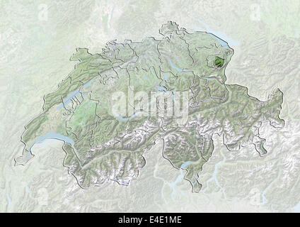 Map of canton Appenzell Innerrhoden Switzerland Stock Photo