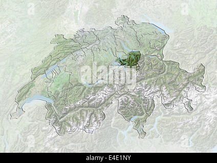 Switzerland and the Canton of Zurich Satellite Image With Bump
