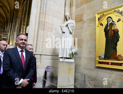 Slovak president Andrej Kiska (pictured), who is on a state visit to the Czech Republic, visits after the meeting - Stock Photo