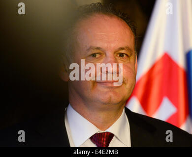 Czech president Milos Zeman and his Slovak counterpart Andrej Kiska (pictured), who is on a state visit to the Czech - Stock Photo