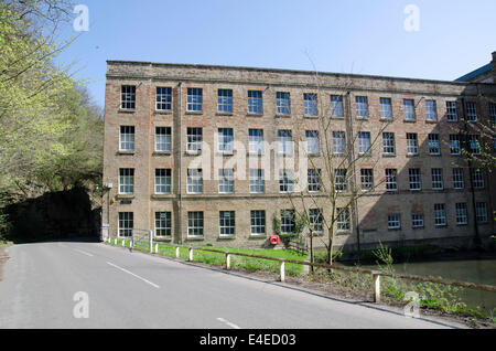 Pleasley Vale Mills, 19th century water powered cotton mill - Stock Photo