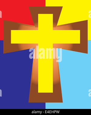 Vector of Yellow Jesus Cross on Colorful Background. - Stock Photo