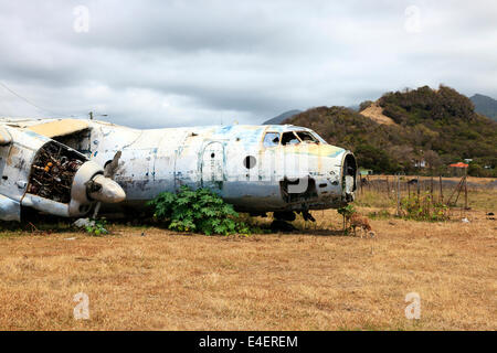 Wreckage of a Russian Antonov AN26 aircraft at Pearls Airfield, Grenville, Grenada, West Indies - Stock Photo