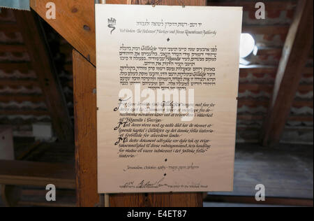 Jewish document  in the attic of Gilleleje Church, Denmark expressing recognition and gratitude for heroic help - Stock Photo