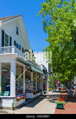 Main Street in the village of Southampton, Suffolk County, Long Island , NY, USA - Stock Photo