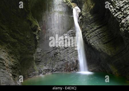 Slap Kozjak (Kozjak waterfall) in the National Park of Triglav, Julian Alps, Slovenia. - Stock Photo