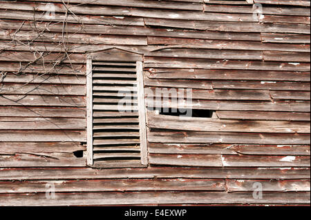 Old weathered wooden barn wall with shuttered window and dead tree branch. - Stock Photo