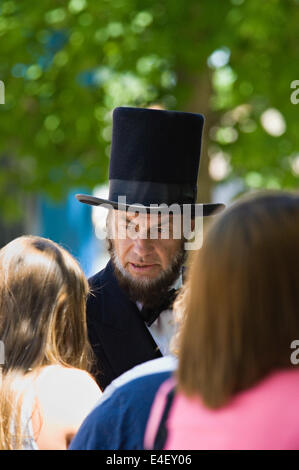 Larry Elliot as Abraham Lincoln at the 184th Pekin Independence Day Celebration in Indiana - Stock Photo