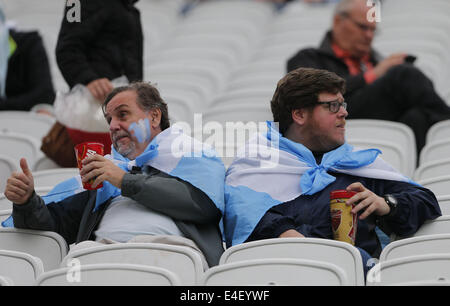 Sao Paulo, Brazil. 9th July, 2014. Argentina's fans wait for a semifinal match between Netherlands and Argentina - Stock Photo