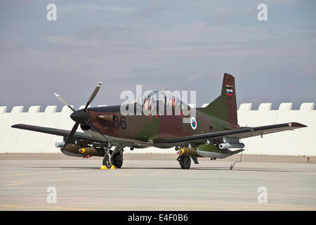 Slovenian PC-9M with bombs during NATO Exercise Ramstein Rover, Namest, Czech Republic. - Stock Photo