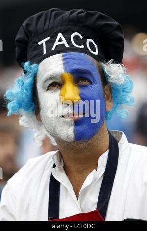 Sao Paulo, Brazil. 9th July, 2014. An Argentina's fan looks on before a semifinal match between Netherlands and - Stock Photo