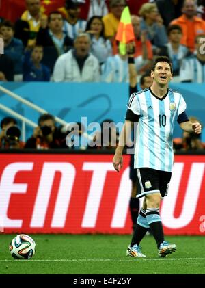 Sao Paulo, Brazil. 9th July, 2014. Argentina's Lionel Messi reacts during a semifinal match between Netherlands - Stock Photo