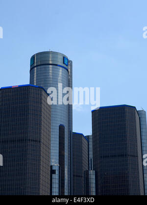DETROIT, MI - JULY 6: The Renaissance Center, shown here in downtown Detroit on July 6, 2014, houses the world headquarters - Stock Photo