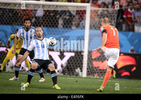 Sao Paulo, Brazil. 9th July, 2014. Match #62, for the Semi-Final of the 2014 World Cup, between Argentina and Netherlands, - Stock Photo