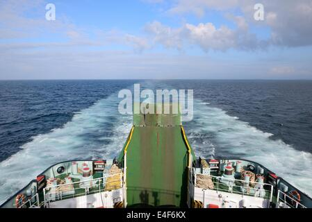 Car ferry door and stern wake - Stock Photo