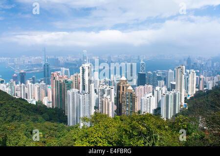 Hong Kong skyline from Victoria Peak. - Stock Photo
