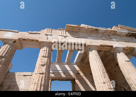 Detail of the monumental gateway of the Propylaea in the Acropolis, Athens, Greece. - Stock Photo