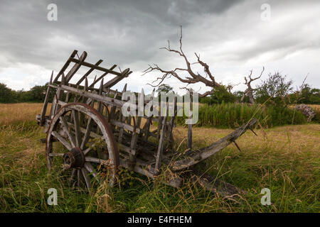 Old decrepit farming machinery antique farm cart holding pen with cartwheels - Stock Photo