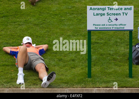 Fan sleeping on Murray Mound which replaced Henman Hill at Wimbledon Tennis Championships 2014, Southwest London, - Stock Photo