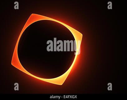 Abstract glowing molten frame with a circular round hole on a black background - Stock Photo