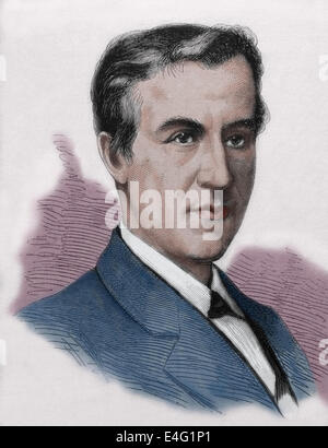 Thomas Alva Edison (1847 Ð 1931). American inventor and businessman. Engraving by Tourfaut, 1980, published in Spain. - Stock Photo
