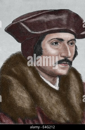 Thomas More (1478-1535). English lawyer, social philosopher, statesman and Renaissance humanist. Engraving by J. - Stock Photo