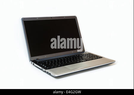 Gray laptop isolated on white background, black screen - Stock Photo