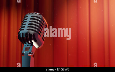 3d retro microphone on red curtain background, copy-space for your text - Stock Photo