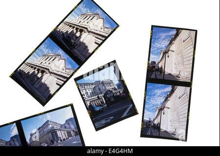 Colour transparencies on a lightbox.Colour reversal film. - Stock Photo