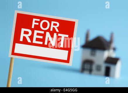 Real estate agent for rent sign - Stock Photo