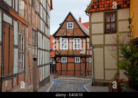 Medieval half-timbered houses at Finkenherd in the town Quedlinburg, Saxony-Anhalt, Germany - Stock Photo