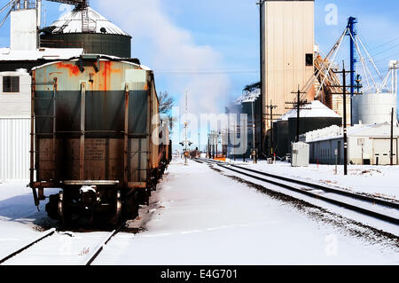 Rail cars parked on a railroad siding in eastern Colorado, USA - Stock Photo