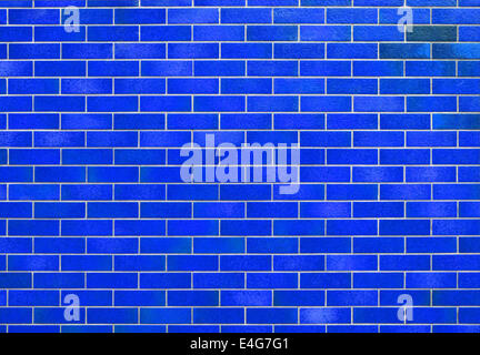Blue tiled wall background - Stock Photo