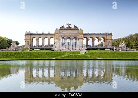 VIENNA, AUSTRIA - MAY 3: Schonbrunn gardens and Gloriette pavilion on May 3, 2014 in Vienna. The pavilion was used - Stock Photo