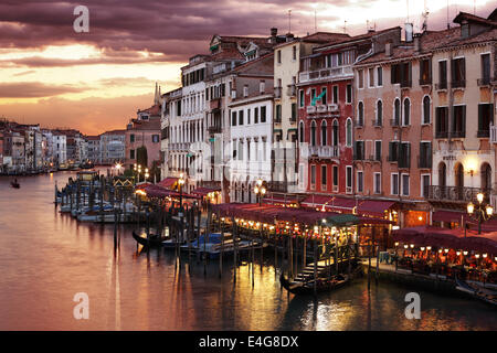 Venice Grand Canal at night - Stock Photo