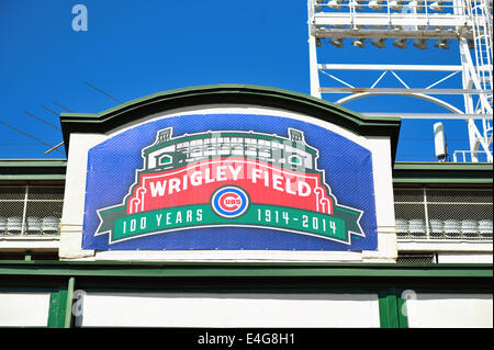 USA Illinois Chicago Wrigley Field Marquee commemorates 100th anniversary first opened to baseball on April 23, - Stock Photo