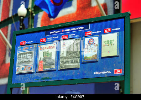 USA Illinois Chicago Wrigley Field. Variety of programs and guides for sale in front of the main entrance April - Stock Photo