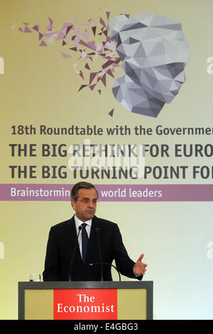 Athens, Greece. 10th July, 2014. Greek Prime Minister Antonis Samaras addresses the audience during a financial - Stock Photo
