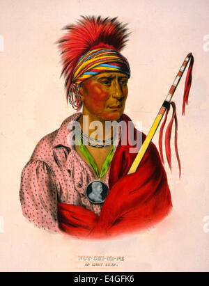Not-Chi-Mi-Ne an Ioway chief - Not-Chi-Mi-Ne, head-and-shoulders portrait, facing right, wearing earrings and a - Stock Photo