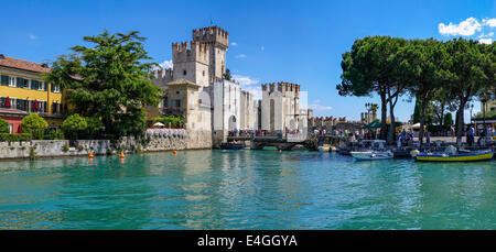 Scaliger Castle (Castello Scaligero) in Sirmione on Lake Garda, Lombardy, Italy, Europe