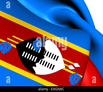 Flag of Swaziland. Close Up. - Stock Photo