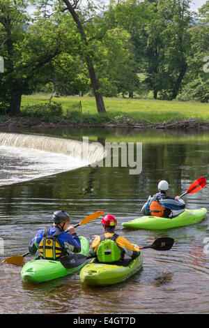 Kayaking on the River Dee near Horseshoe Falls, Llangollen, North Wales, UK - Stock Photo