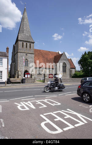 Saint Peter's Church on the High Street in Stockbridge, Hampshire England - Stock Photo