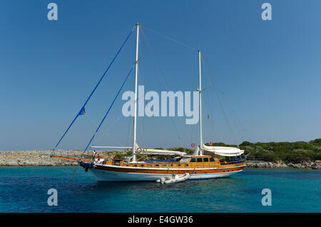 Gulet cruise boat at anchor in Turkey - Stock Photo