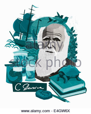 Montage of Charles Darwin, natural science and discovery - Stock Photo