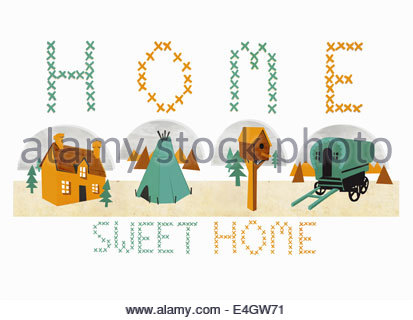 """Home Sweet Home"" cross-stitch with various forms of housing - Stock Photo"